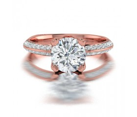 Cushion Cut Double Claw Diamond Ring with Pave Side Stones in 14K White Gold Comprised of 0.91ctw
