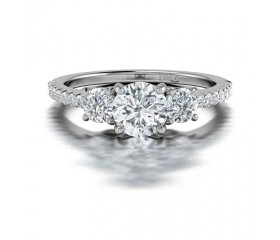 Trilogy Diamond Ring with Pave Side Stones in 14K White Gold Comprised of 1.06ctw