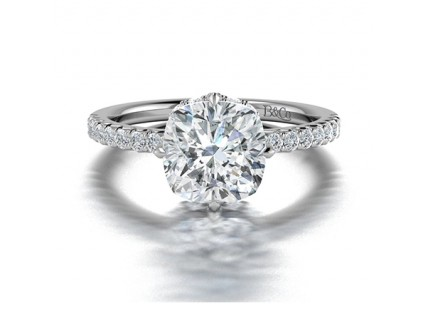 Cushion Cut  Diamond Ring with Pave Side Stones in 14K White Gold comprised of 1.03ctw
