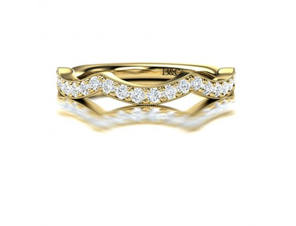 Pave Set Fancy Diamond Wedding Ring in 14K Yellow Gold comprised 0.41ctw