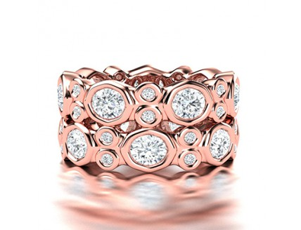 Fancy Tube Set Diamond Wedding Ring in 14K Rose Gold comprised of 4.06ctw