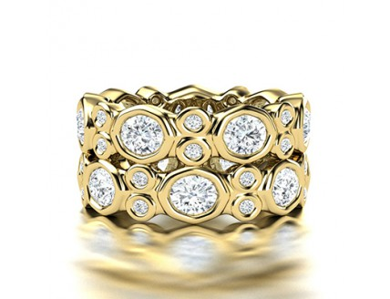 Fancy Tube Set Diamond Wedding Ring in 14K Yellow Gold comprised of 4.06ctw