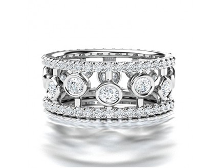 Fancy Broad Diamond Wedding Ring in 14K White Gold comprised of 1.80ctw