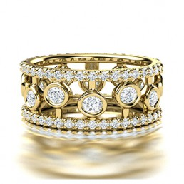 Fancy Broad Diamond  Wedding Ring in 14K Yellow Gold comprised of 1.80ctw