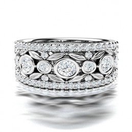 Fancy Broad Filigree Diamond Wedding Ring in 14K White Gold comprised of 1.13ctw