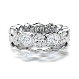 Fancy Tube Set Diamond Wedding Ring in 14K White Gold comprised 4.06ctw