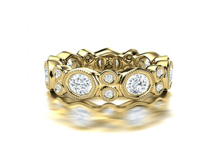 Fancy Tube Set Millgraine Diamond Wedding Band in 14K Yellow Gold Comprised of 2.87ctw