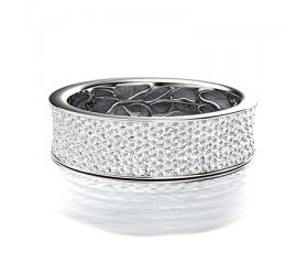 Broad Pave Set Diamond Wedding Band in 14K White Gold Comprised 2.35ctw