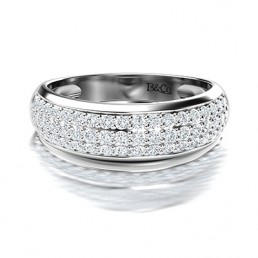 Pave Set Diamond Wedding Band in 14K White Gold Comprised of 0.81ctw