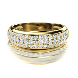 Pave Set Diamond Wedding Band in 14K Yellow Gold Comprised 0.81ctw