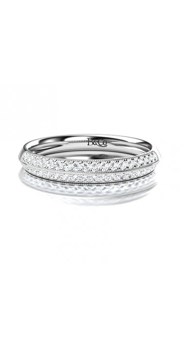 Knife Edge Diamond Pave Wedding Ring in 14K White Gold, comprised of 0.34ctw