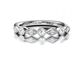 Vintage Millgrain Diamond Eternity Ring in 14K White Gold Comprised of 0.15ctw