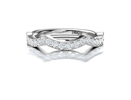 Pave Set Fancy Diamond Wedding Ring in 14K White Gold Comprised 0.30ctw