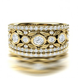 Fancy Broad Filigree Diamond Wedding Ring in 14K Yellow Gold Comprised of 1.13ctw