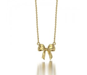 Ribbon Bow Pendant Necklace in 14K White Gold