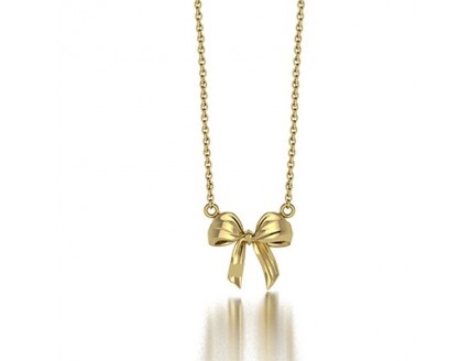 Ribbon Bow Pendant Necklace in 14K Yellow Gold
