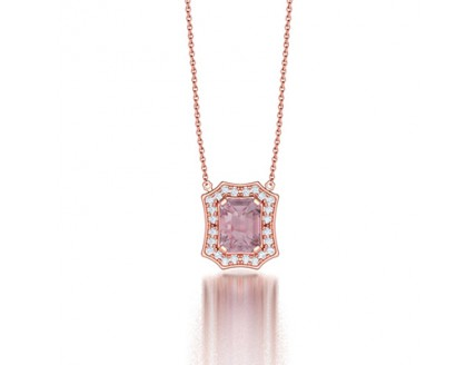 Classic Claw Set Emerald Cut Spider Halo Diamond Pendant Necklace in 14K Rose Gold