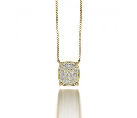 Classic Cushion Shaped Pave Set Diamond Pendant Necklace in 14K Yellow Gold Comprised of 0.31ctw