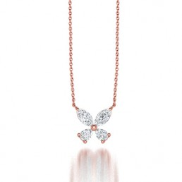 Classic Claw Diamond Clover Pendant Necklace in 14K Rose Gold Comprised