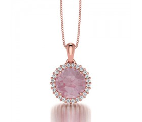 Classic Halo Morganite and Diamond Pendant 14K Rose Gold comprised of 1,48ctw