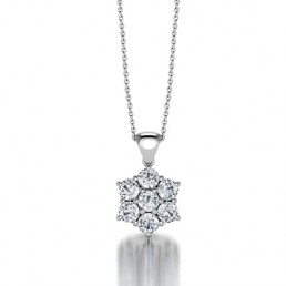 Classic Claw Set Semblance Diamond Pendant in 14K White Gold Comprised