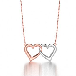 Heart Beat Pendant Neckalce in Two Tone 14K White and Rose Gold