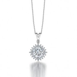 Classic Claw Cushion Cut Diamond Halo Pendant in 14K White Gold