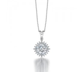 Cushion Diamond Halo Pendant in 14K White Gold comprised 1,48ctw