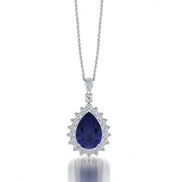 Pear Shape Tanzanite and Daimond Halo Pendant Necklace in 14K White Gold