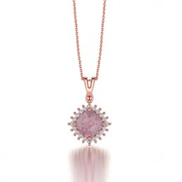 Classic Claw Cushion Cut Morganite and Diamond Pendant in 14K Rose Gold