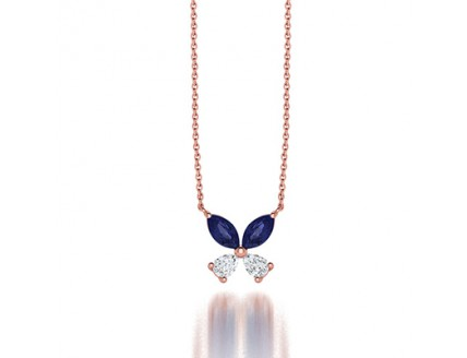Classic Claw Set Diamond and Sapphire Clover Pendant Necklace in 14 K Rose Gold