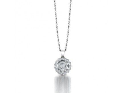 Double Halo Circle of Life Diamond Pendant in 14K White Gold comprised 0.26ctw