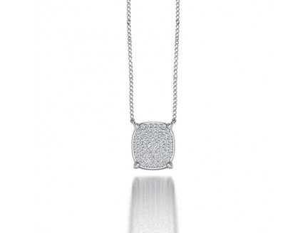 Classic Cushion Shaped Pave Set Diamond Pendant Necklace in 14K White Gold c