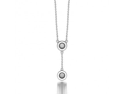 Diamond by the Yard Pendant Necklace in 14K White Gold Comprised 0.20ctw