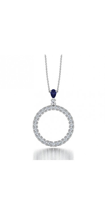 Circle of Life Diamond Pendant Necklace with Pear Tanzanite in 14K White Gold