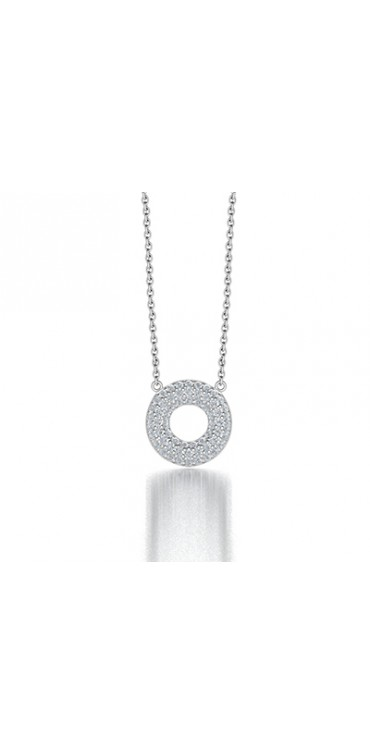 Pave Set Circle of Life Pendant Necklace in 14K White Gold comprised of 0.305ctw