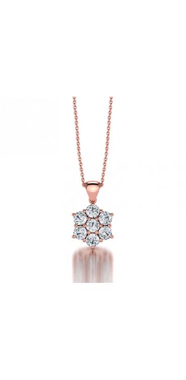 Classic Claw Set Semblance Diamond Pendant in 14K White Gold Comprised