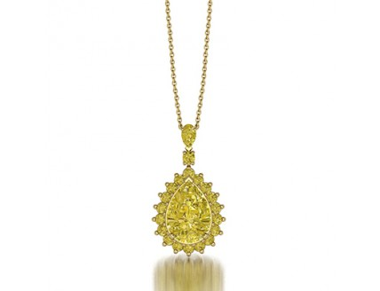 Designer Fancy Yellow Diamond Pendant Necklace in 14K Yellow Gold