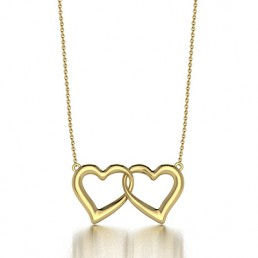 Heart Beat Pendant Necklace in 14K Yellow Gold
