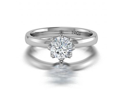Classic Solitaire 6 Prong Millgraine Diamond Engagement Ring in 14K White Gold comprised of 0.81ctw