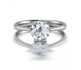 Classic 6 Prong Solitaire Diamond Engagement Ring in 14K White Gold Comprised of 1.08ctwb