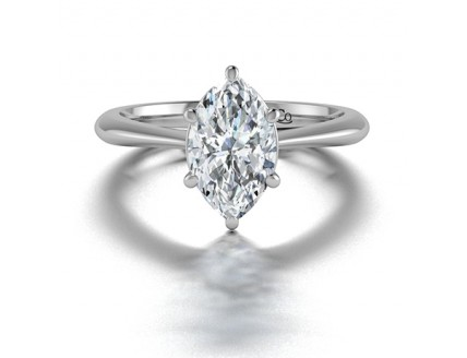 Classic Solitaire Marquise Diamond Engagement Ring in 14K White Gold comprised of 1.00ctw