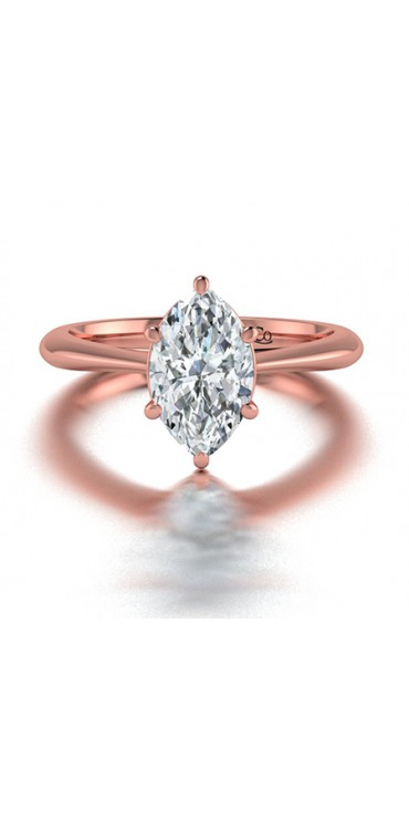Classic Solitaire Marquise Diamond Engagement Ring in 14K Rose Gold comprised of 1.00ctw