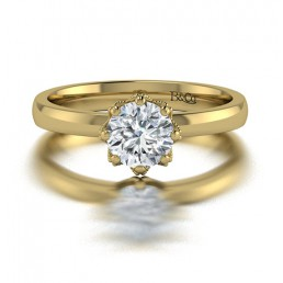 Classic Solitaire 6 Prong Millgraine Diamond Engagement Ring in 14K Yellow Gold comprised 0.81ctw