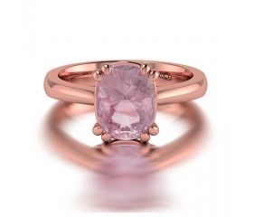 Cushion Cut Classic Solitaire Morganite Ring in 14K Rose Gold Comprised of 1.90ctw