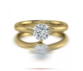 Classic Solitaire 4 Prong Twist Set Diamond Engagement Ring in 14K Yellow Gold Comprised of 1.30ctw