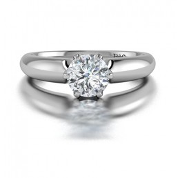 Classic Solitaire 6 Prong Diamond Engagement Ring in 14K White Gold Comprised of 0.70ctw