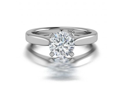 Classic Solitaire 4 Prong Diamond Engagement Ring in 14K White Gold comprised 2.20ct