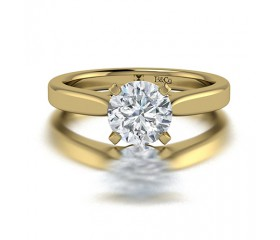 Classic Solitaire 4 Prong Diamond Engagement Ring in 14K Yellow Gold Comprised of 2.20ctw