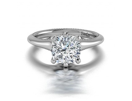 Cushion Cut Classic Solitaire 6 Prong Diamond Engagement Ring in 14K White Gold Comprised